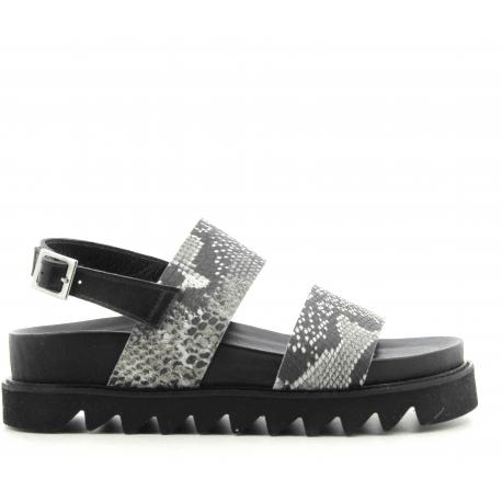 Sandales en cuir noir estampillé serpent GRITT - Garrice Collection