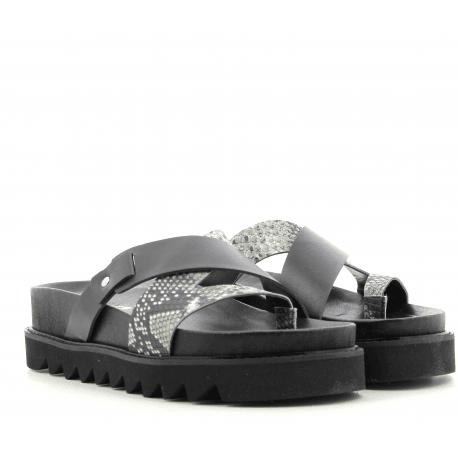Sandales en cuir estampillé serpent GRETA- Garrice Collection