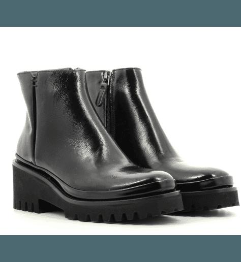 Bottines compensées en cuir noir Sélection Garrice - M9177N