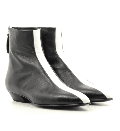 Bottines pointues en cuir noir et blanc Halmanera - ZILLY11