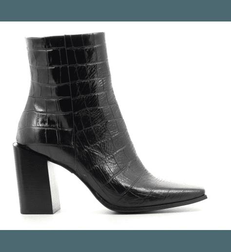 Bottines bout carré en cuir noir Sélection Garrice Fruit shoes - 5757N