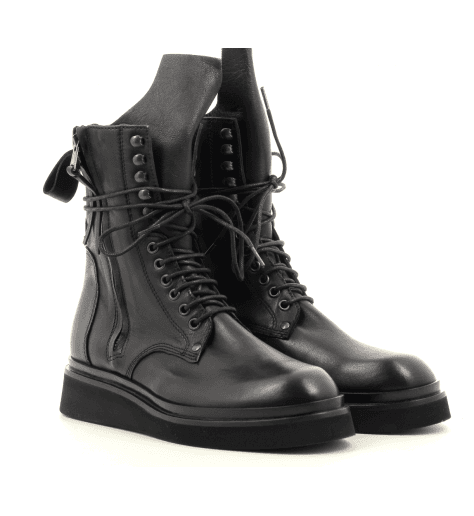 Bottines rangers en cuir noir 5615 - GARRICE COLLECTION