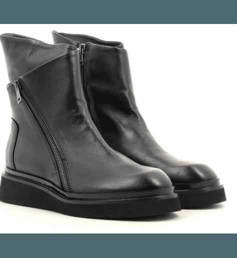 Bottines rangers en cuir noir 5618 - GARRICE COLLECTION