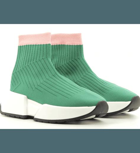 Sneakers verte façon chaussette logo  S59WS0079V- MM6 Martin Margiela