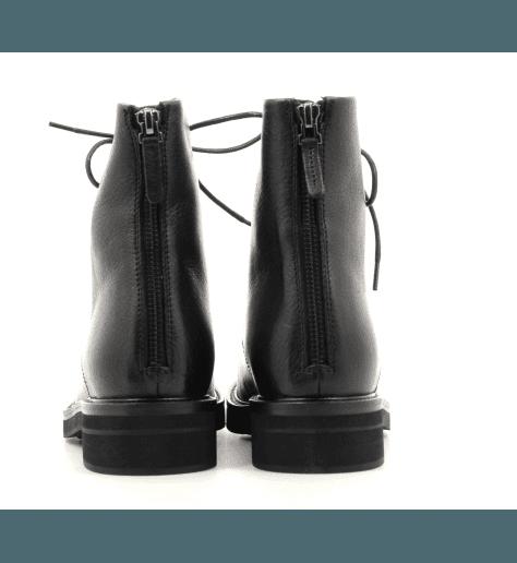 Bottines à lacets en cuir noir Henderson Baracco - D049