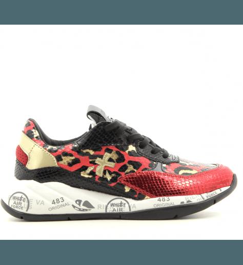 Baskets en textile et cuir leopard rouge Premiata - SCARLETT 4165