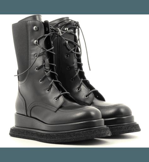 Bottines semelle épaisse en cuir noir M5449 - Premiata