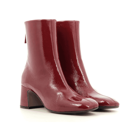 Bottines petit talon et bout carré en cuir verni rouge MARA BINI - H795R