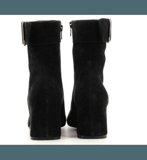 Bottines à talons bout carré en veau velours noir MARA BINI - H796