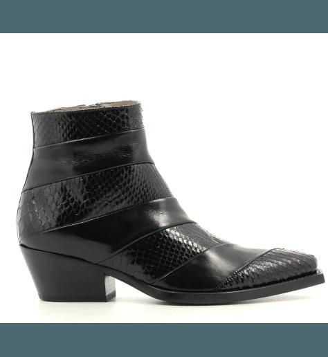 Bottines santiags en cuir et python noir Sartore - SR3654