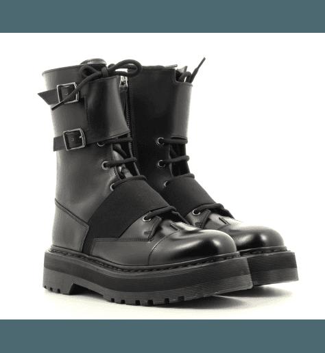 Bottines semelle épaisse en cuir noir M4970 - Premiata