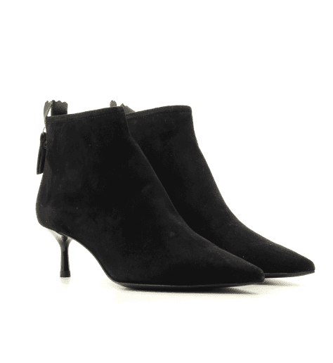 Bottines pointues en veau velours noir AGL - D16350