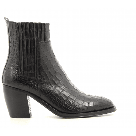 Bottines à talons en cuir estampillé croco noir YARA 54027 - Alberto Fasciani