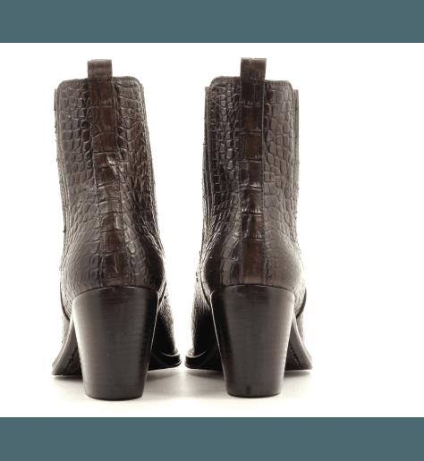 Bottines à talons en cuir estampillé croco marron YARA 54027M - Alberto Fasciani