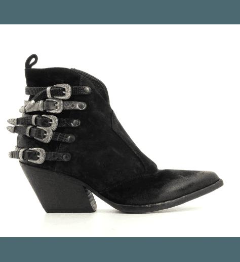 "Bottines style ""Santiag"" en cuir noir Elena Iachi - E2045"