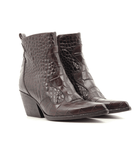 Bottines pointues style santiag en cuir estampillé croco bordeaux Elena Iachi - E2040