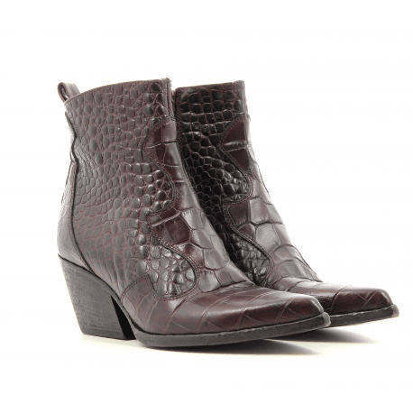 Bottines pointues style santiag en cuir estampillé croco bordeaux Elena Iachi - E2040