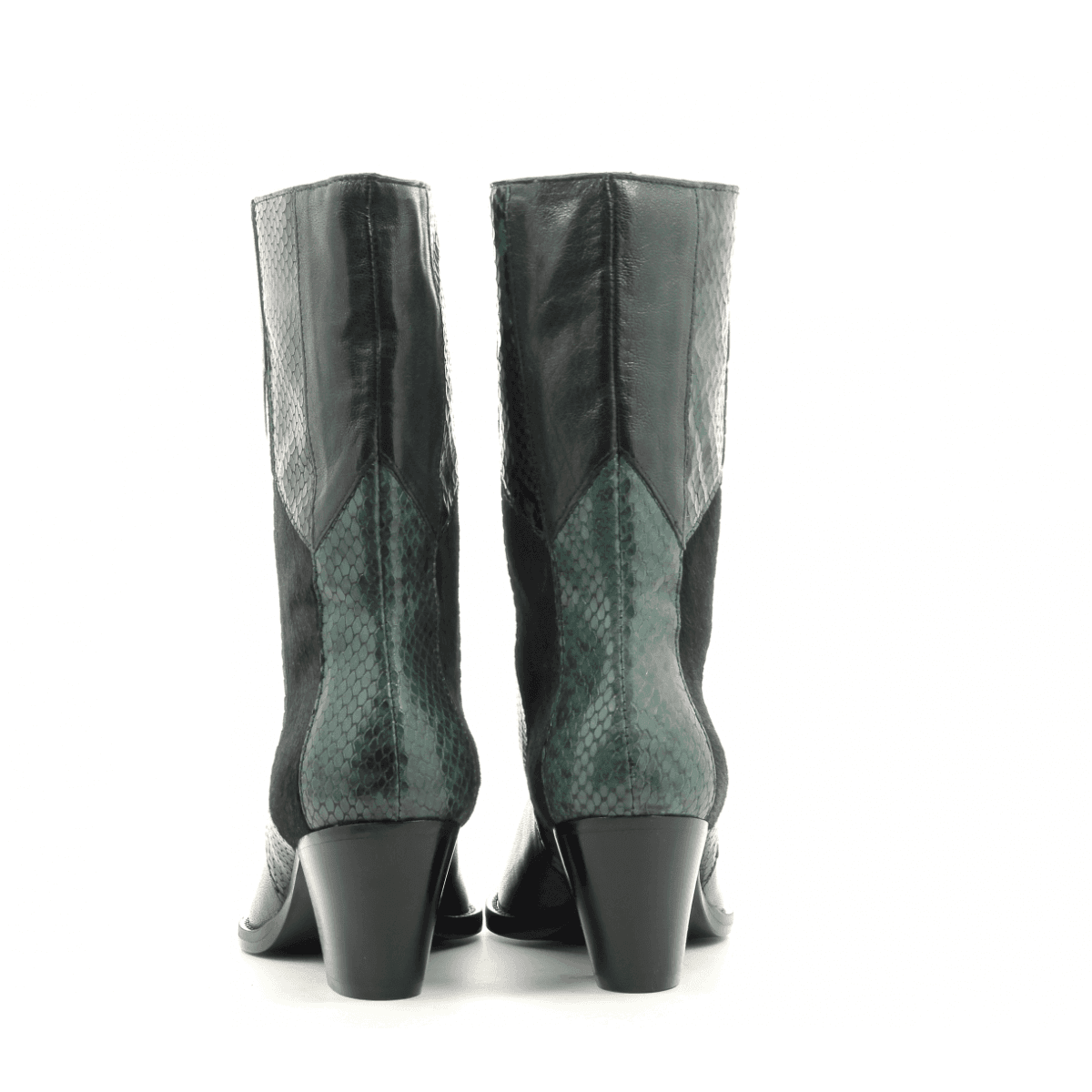 Bottines en patchwork de cuir vert Sélection Garrice  - AI19052V