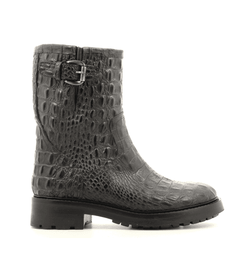 Bottines Bikers en cuir estampillé anthracite - Sélection Garrice - A4173