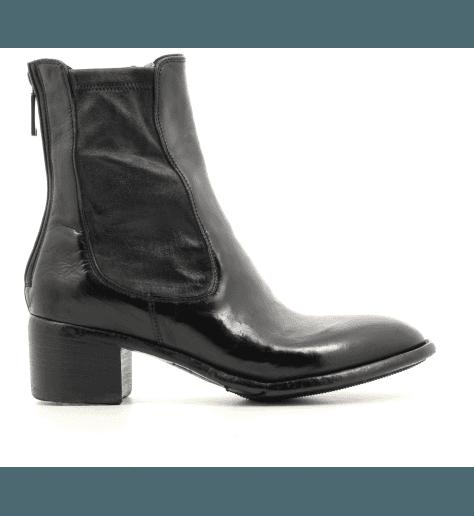 Bottines à talon bottier en cuir noir Lemargo - AP06A