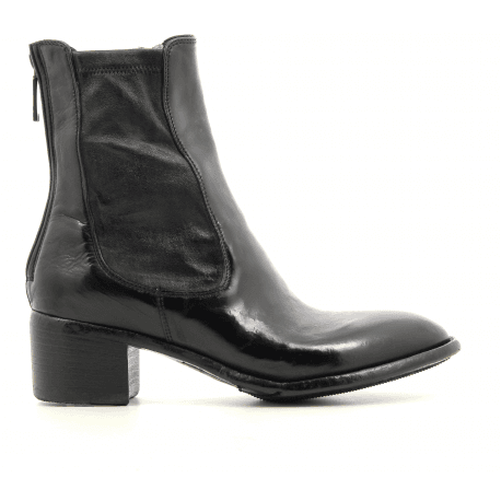 Bottines à talon bottier en cuir noir Lemargo - AP06A