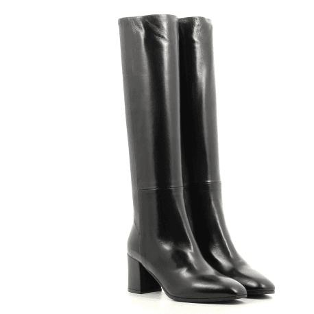 Bottes à talons en cuir noir Garrice Collection - W205919N