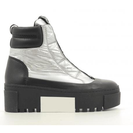 Baskets boots à semelle épaisse noir et argent Vic Matie - 7780D