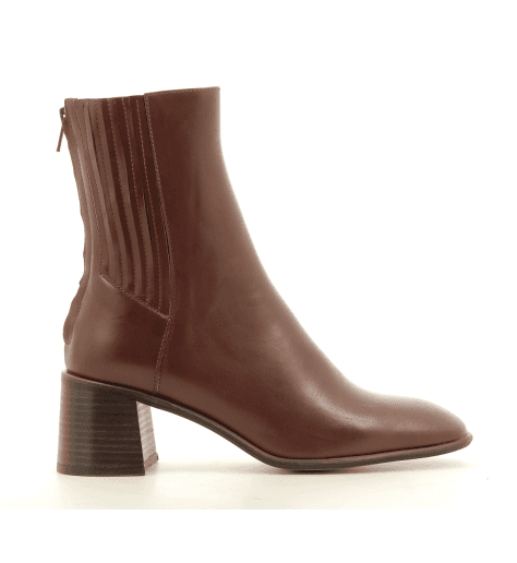Bottines talon carré en cuir marron E8 by MIISTA - INKA CAMEL