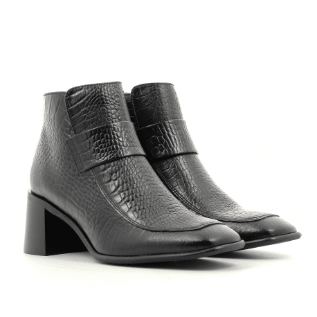 Bottines talon carré en cuir noir E8 by MIISTA - ALINA BLACK CROC