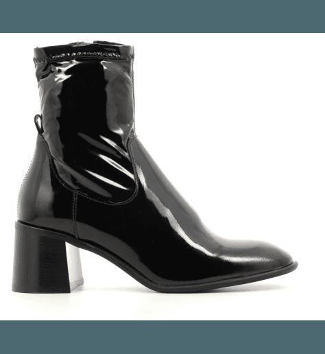 Bottines talon carré en cuir vernis noir E8 by MIISTA - AZRA BLACK PATENT