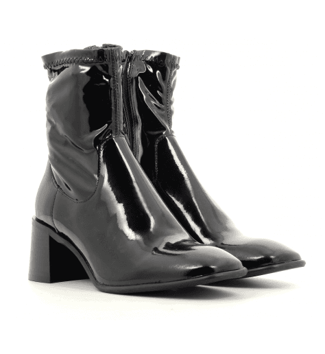 Bottines talon carré en cuir vernis noir E8 by MIISTA - AZRA BLACK PATENT