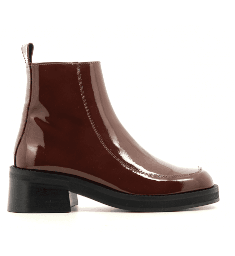 Bottines talon carré en cuir vernis marron E8 by MIISTA - EVELYN BROWN PATENT