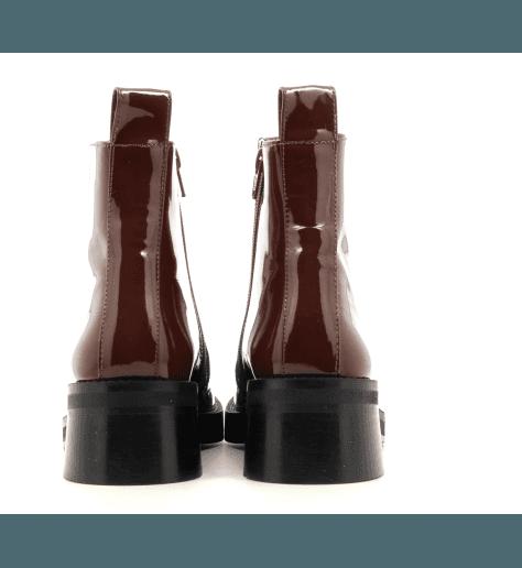 Bottines talon carré en cuir vernis marron E8 by MIISTA - EVELYN BROWN PATENT