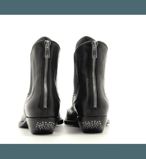 Bottines pointues en cuir noir lavé Officine Creative - ASTREE 003