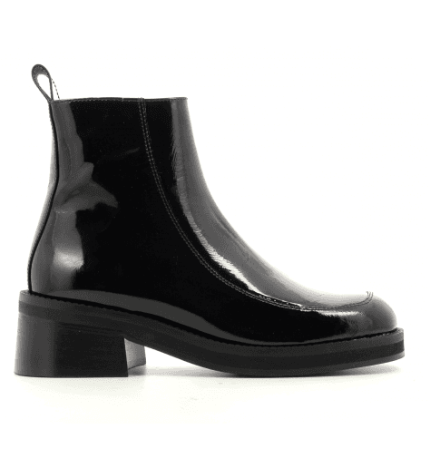 Bottines talon carré en cuir vernis noir E8 by MIISTA - EVELYN BLACK PATENT