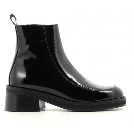 Bottines talon carré en cuir vernis noir E8 by MIISTA - EVELYN BLACK PATENT