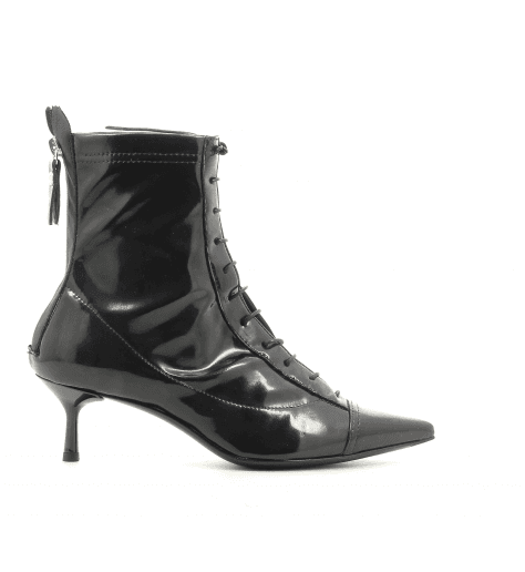 Bottines pointues en cuir stretch noir AGL - D16350 BLACK LATEX