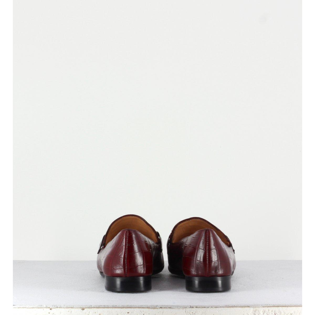 Mocassins plats à bout carré en cuir estampillé croco bordeau  MARA BINI - F536 BORDEAU