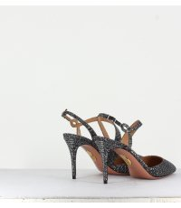 Escarpins pointues en textile noir/argent AQUAZZURA - ARDEN PUMP85