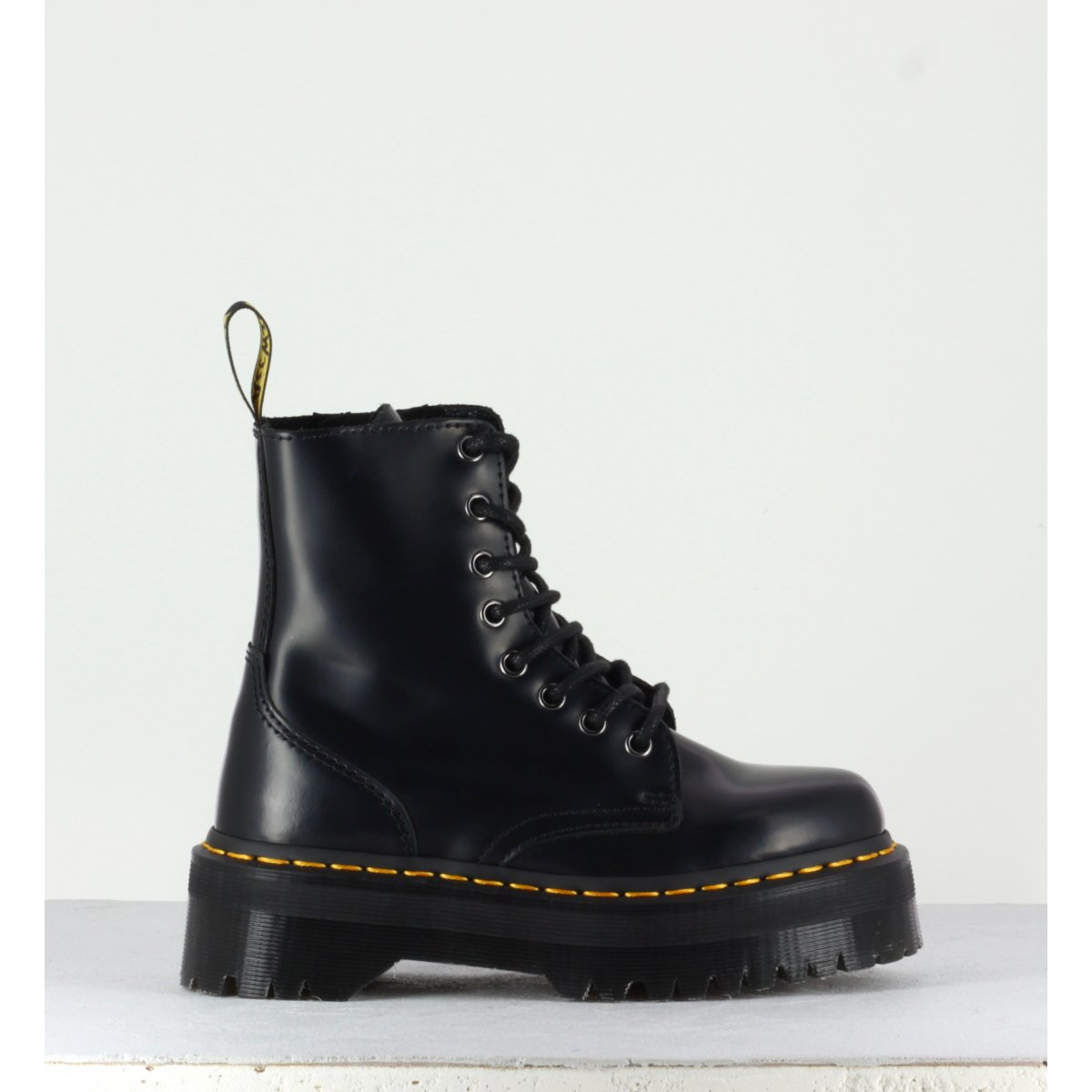 Original Dr Martens Boots à plateformes en cuir noir - JADON Black Polished