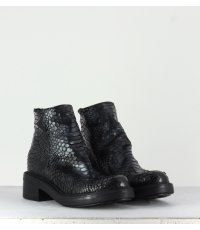 Bottines en cuir estampillées argent strategia jfk P2362 - Garrice Collection