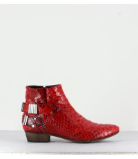 Bottines en python rouge LO RED RUBY - Fury London