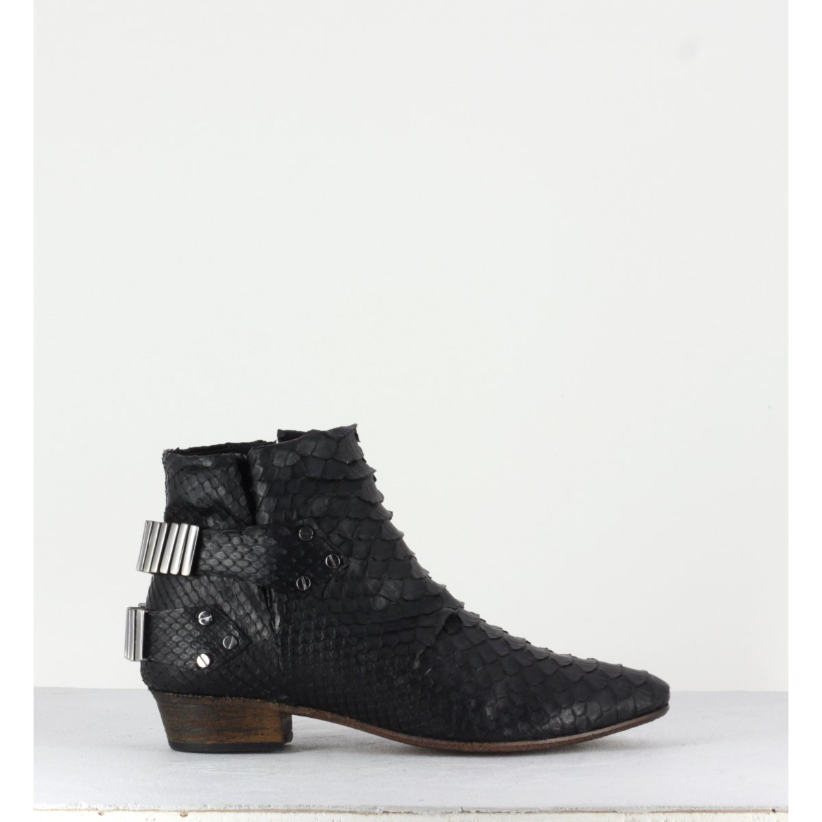 Bottines en python noir et argent Fury London - LO BLACK/SILVER