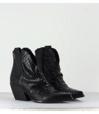 Santiag courte en cuir effet python noir  Elena Iachi - E2042T