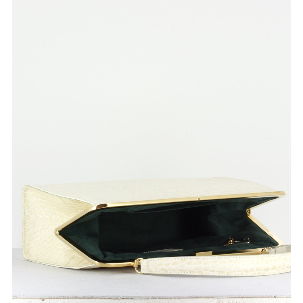 WHITE CROCO CLASP BAG