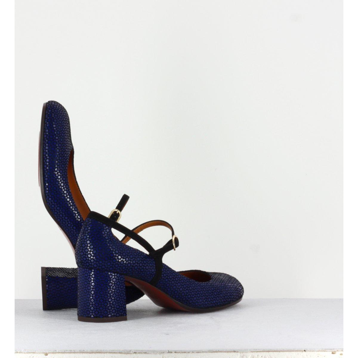 Escarpins à talons moyens en cuir bleu Chie Mihara - POPY BLEU