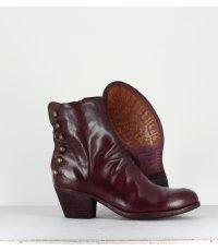 Bottines à talon en cuir bordeaux et boutons Officine Creative  pour femmes - GISELLE 059