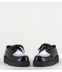 Chaussures à lacet en cuir noir et blanc Uunderground -WULFRUN CREEPERS