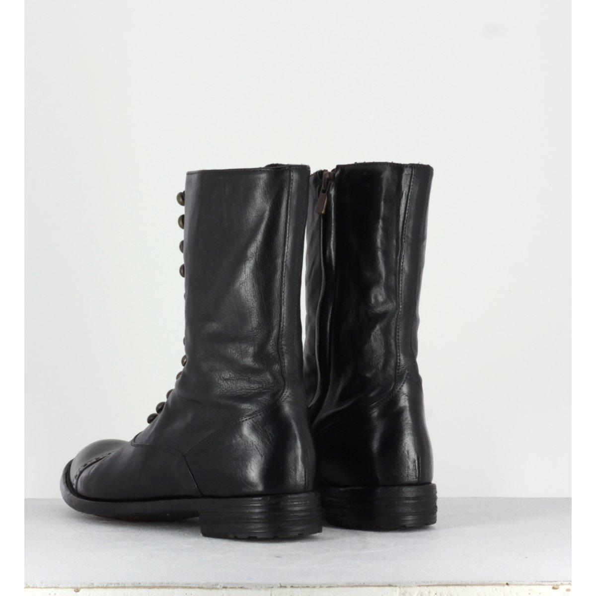 Bottines plates en cuir noir et boutons Officine Creative  pour femmes - LEXIKON/101N