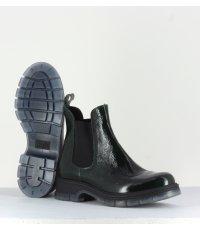 Bottines plate en cuir vernis vert foncé Sélection Garrice fru.it shoes - 5835V